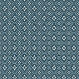 Fond bleu de modèle de contrôle de diamant de fleur de vintage sans couture Image libre de droits