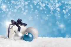 Fond bleu de Noël Photographie stock libre de droits