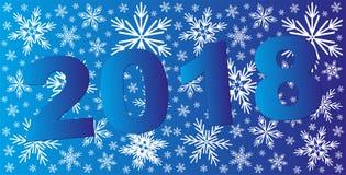 Fond bleu de Noël abstrait avec des flocons de neige 2018 célèbrent le fond Image libre de droits