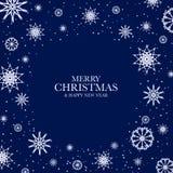 Fond bleu de Noël avec les flocons de neige blancs Image stock