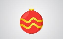 Fond bleu de Noël couleur rouge de boule de rétro avec la décoration d'or de vague Photo stock