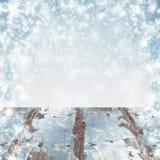 Fond bleu de Noël de l'hiver Chutes de neige abondantes Très vieux merci photo stock