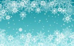 Fond bleu de Noël et de nouvelle année avec des flocons de neige Calibre de salutation de vacances illustration de vecteur
