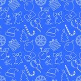 Fond bleu de Noël tiré par la main Contours blancs Conception plate, illustration de vecteur Photos stock