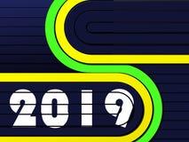 Fond bleu de techno avec les rayures jaunes et vertes avec les numéros 2019 illustration stock