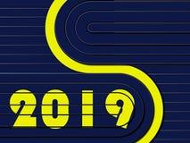 Fond bleu de techno avec les rayures jaunes avec les numéros 2019 illustration stock
