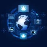 Fond bleu de technologie de concept de communication Photo stock