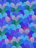 Fond bleu de texture de coeur Photo libre de droits