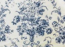Fond bleu de tissu de rétro modèle sans couture floral de dentelle Photo stock