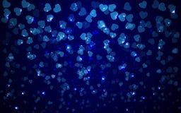 Fond bleu de vacances abstraites de valentine avec les lumières troubles de coeurs Images stock