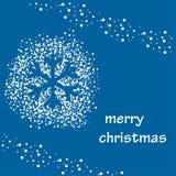 Fond bleu de vecteur avec la neige et la silhouette blanches du flocon de neige illustration libre de droits
