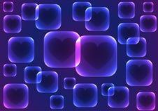 Fond bleu de vecteur avec les places bleues transparentes Image libre de droits