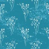 Fond bleu de vecteur de modèle sans couture floral Photo stock