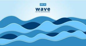 Fond bleu de vecteur de vague de mer d'océan Photographie stock libre de droits