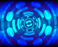 Fond bleu de vecteur de sécurité de Cyber pour la présentation Photos stock