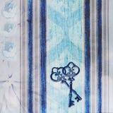 Fond bleu de vintage avec des clés Image stock
