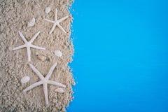 Fond bleu en bois dans le style marin Photos libres de droits