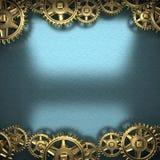 Fond bleu en métal avec des vitesses de roue dentée illustration de vecteur