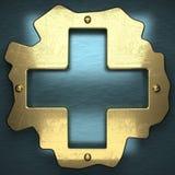 Fond bleu en métal avec l'élément jaune Photos libres de droits