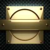 Fond bleu en métal avec l'élément jaune Images libres de droits