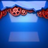 Fond bleu en métal avec les vitesses rouges de roue dentée illustration libre de droits