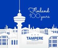 Fond bleu et blanc d'illustration de vue de ville de Tampere Finlande - le vecteur d'attractions touristiques et de points de rep Photos libres de droits