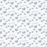 Fond bleu et blanc de répétition de modèle de tuile d'écriture d'amour d'I Photographie stock