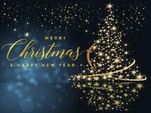Fond bleu et d'or de Noël avec l'illustration de Joyeux Noël et de bonne année des textes illustration stock