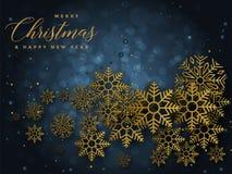 Fond bleu et d'or de Noël avec l'illustration de Joyeux Noël et de bonne année des textes illustration libre de droits