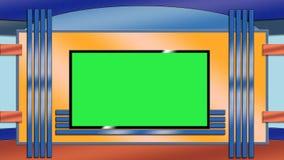Fond bleu et orange de studio de TV Photographie stock libre de droits