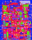 Fond bleu et rouge grunge Images stock