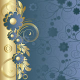 Fond bleu-foncé avec des fleurs illustration de vecteur