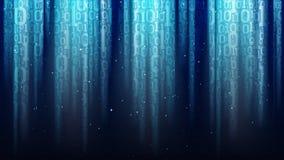 Fond bleu-foncé avec les rayons légers, code binaire translucide, paillettes, ciel étoilé de nuit brillante illustration stock