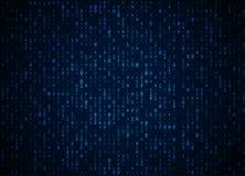 Fond bleu-foncé de code binaire de vecteur Grandes données et entailler de programmation, décryptage profond et chiffrage, couler illustration libre de droits