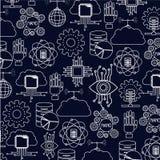 Fond bleu-foncé de couleur avec l'éclat technologie réglée de silhouette de la future illustration stock