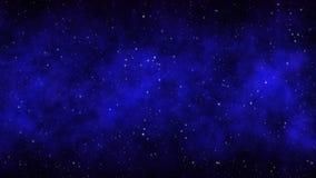 Fond bleu-foncé de l'espace de ciel étoilé de nuit avec les étoiles et la nébuleuse lumineuses Images libres de droits