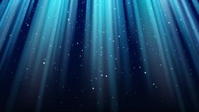 Fond bleu-foncé vide avec des rayons de lumière, étincelles, ciel brillant d'étoile de nuit illustration libre de droits