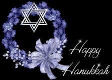 Fond bleu heureux de guirlande de Hanukkah Photo libre de droits