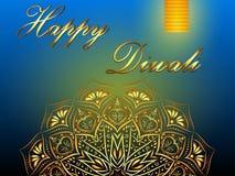 Fond bleu heureux de vecteur de Diwali, festival des lumières indou illustration libre de droits