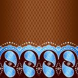 Fond bleu inspiré par des conceptions indiennes de mehndi Photos libres de droits