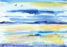 Fond bleu-jaune d'aquarelle Photos stock