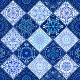 Fond bleu Mandala Pattern de tuile Photos libres de droits