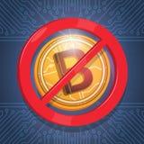 Fond bleu non admis de circuit de crypto de devise de Digital de signe de Bitcoins de Web icône moderne d'argent Photo libre de droits
