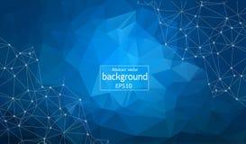 Fond bleu polygonal abstrait avec les points et les lignes reliés, structure de connexion, fond futuriste de hud illustration libre de droits