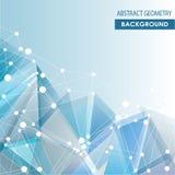 Fond bleu polygonal avec moléculaire abstrait  Images libres de droits