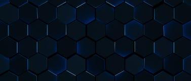 Fond bleu rougeoyant d'hexagone d'obscurité illustration de vecteur