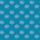 Fond bleu sans couture illustré avec des marguerites Photographie stock libre de droits