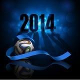Fond bleu sportif avec du ballon de football Images libres de droits