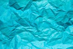 Fond bleu, texture de papier colorée chiffonnée photo stock