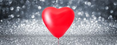 Fond brillant de ballon de coeur d'amour Photo stock